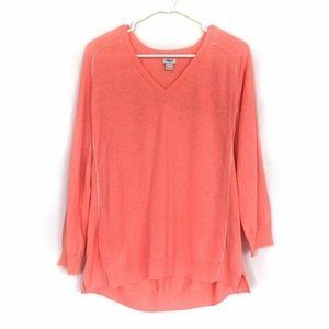 J.Crew Orange VNeck Tipped Draped Pullover Sweater